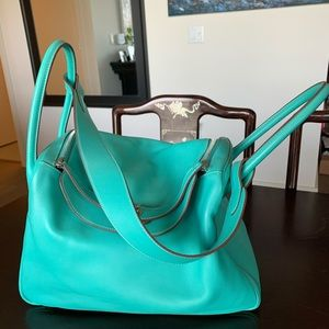 100% Authentic Hermès Lindy Lagoon Blue Green 34cm